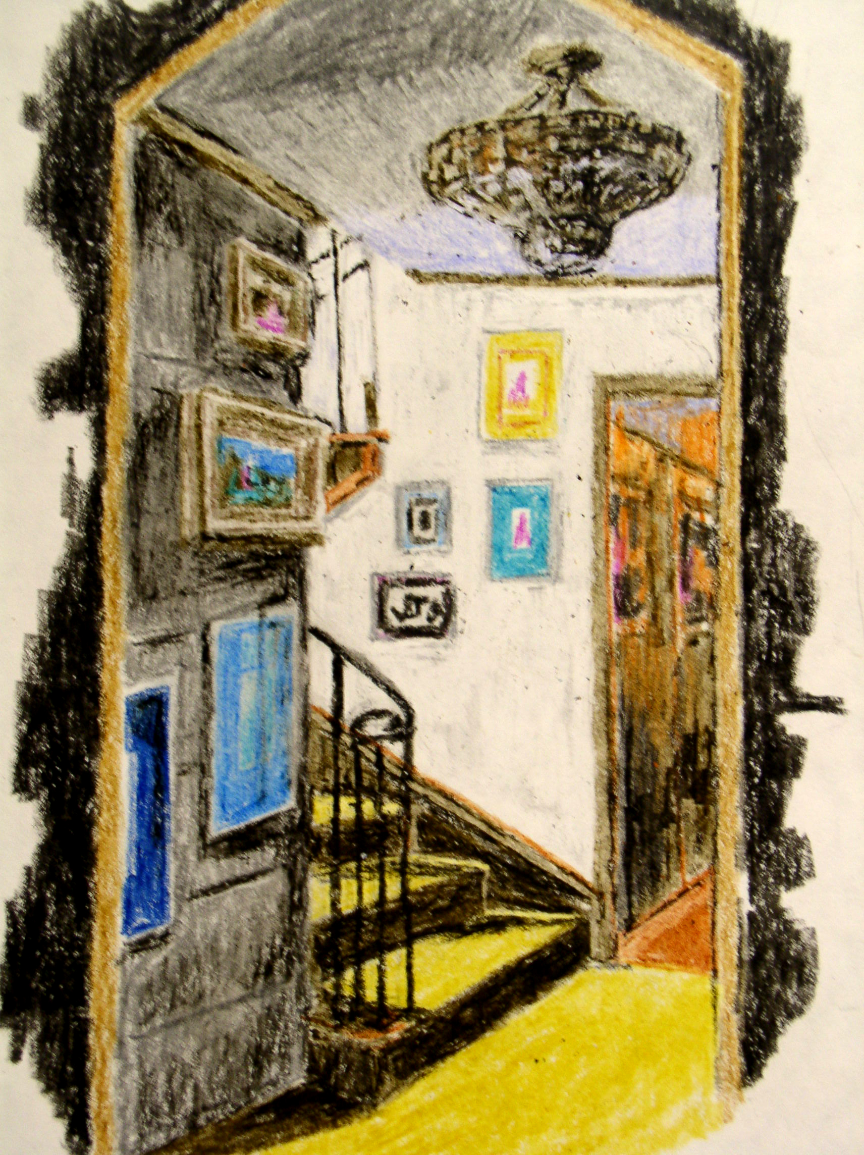 Foyer at 1905 Crayon Sketch