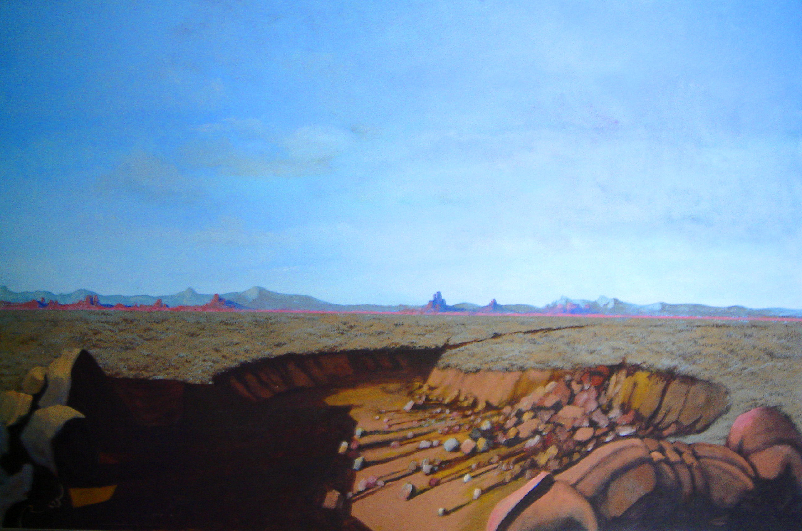 "Desert Series #2, circa 1990's, acrylic on canvas, 24"" x 36"""