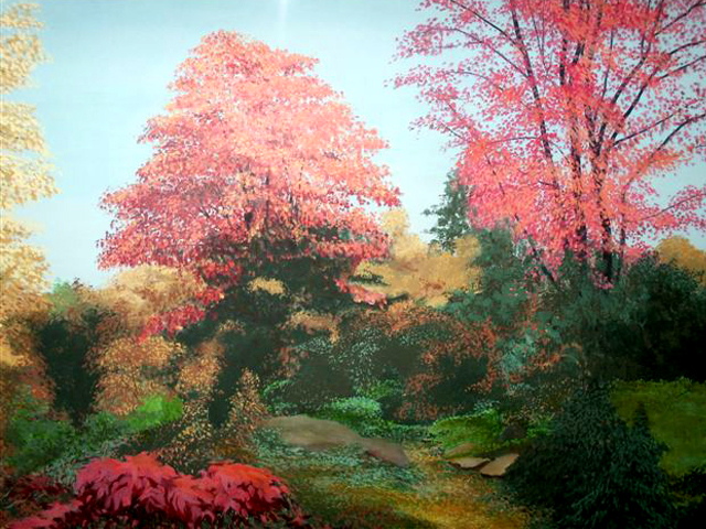 "Autumnscape, 1975, acrylic on canvas, 36"" x 48"""