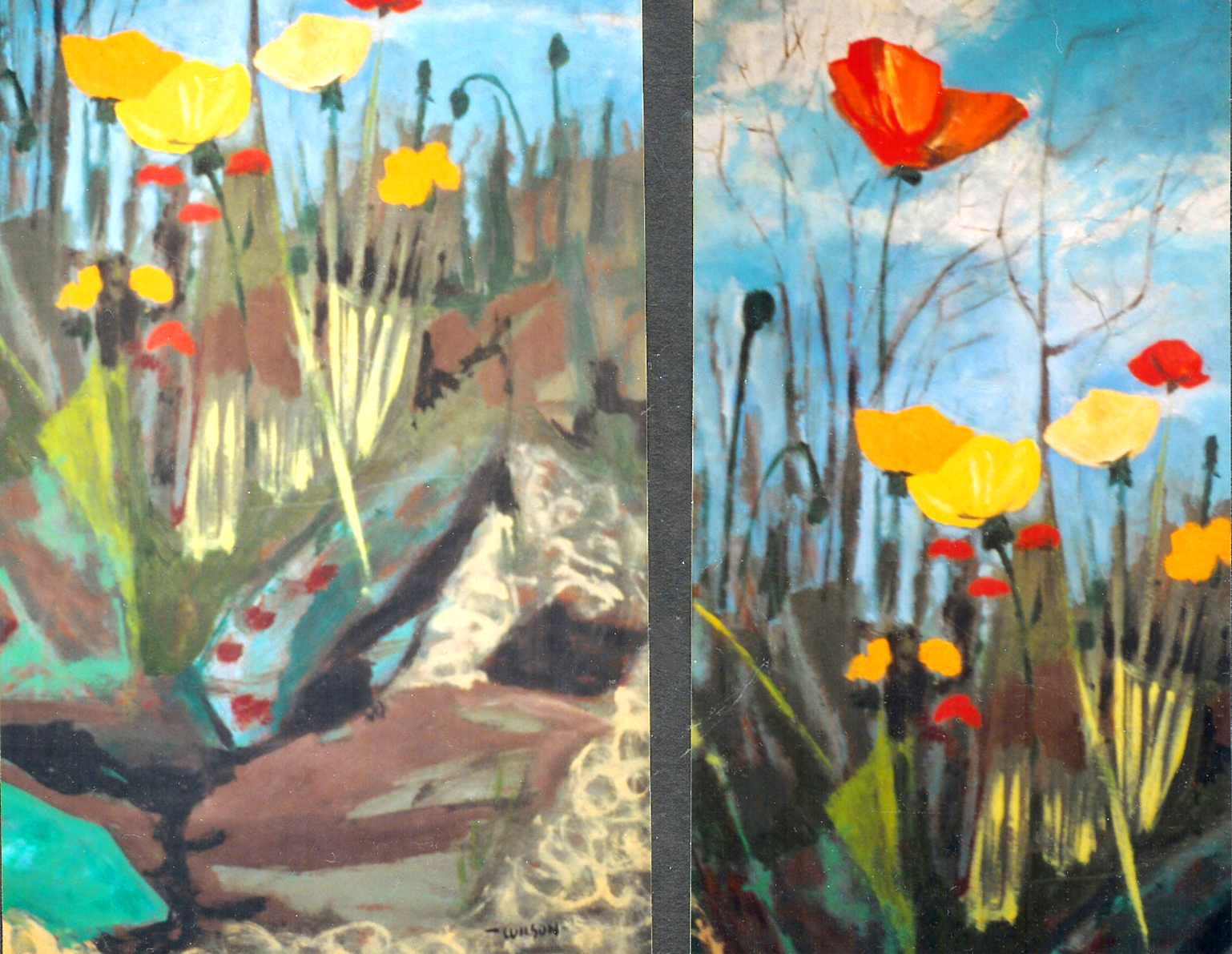 "Landscape with Poppies (on the backside of California Baroque) circa 1950's, acrylic on masonite, 36"" x 48"""