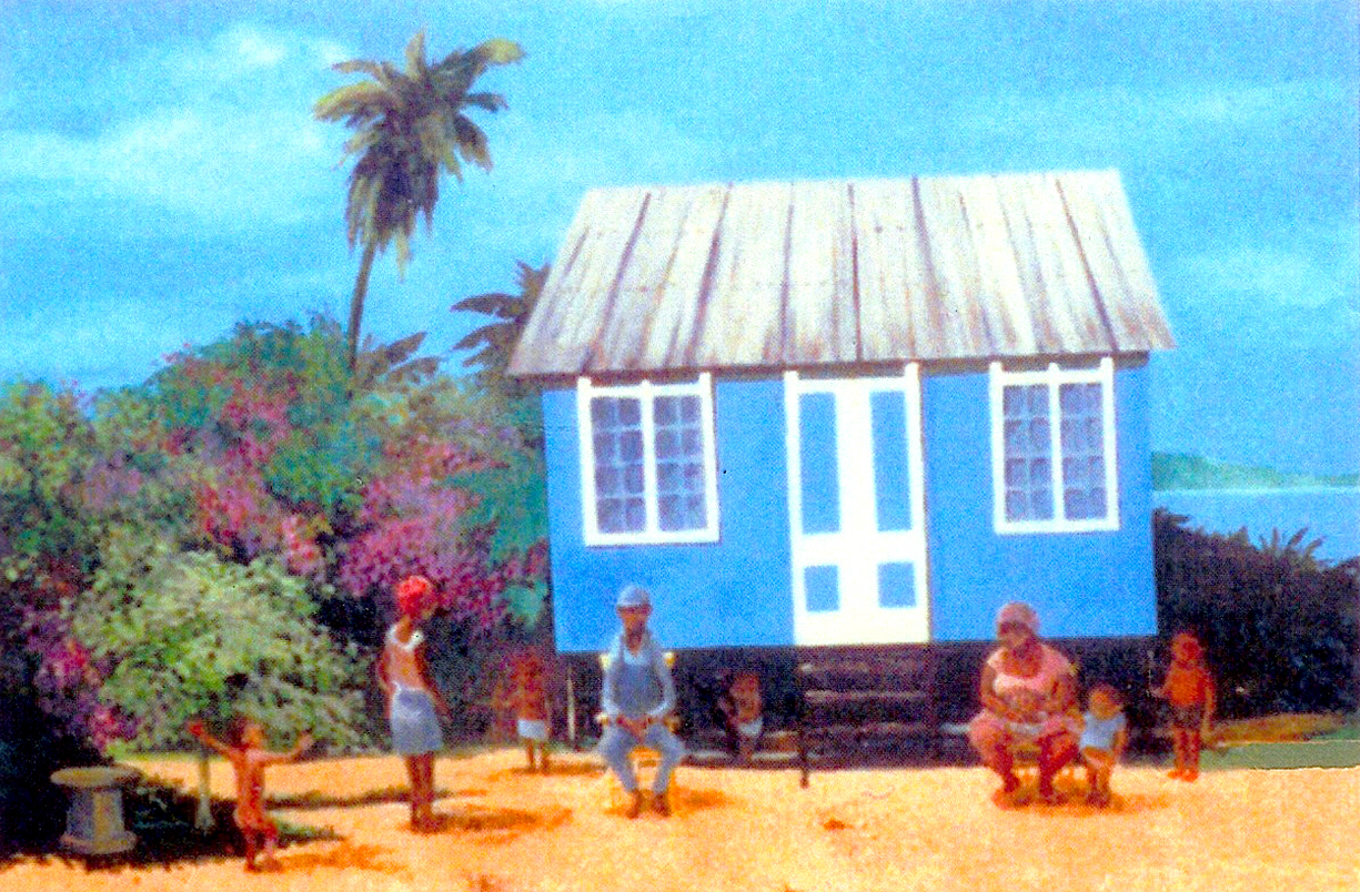 "Blue Bungalow, 1993, acrylic on canvas, 24"" x 36"""