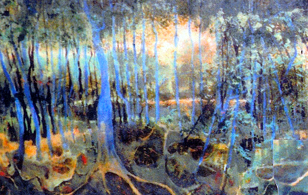 "Blue Cypress, 1993, acrylic on canvas, 26"" x 36"""