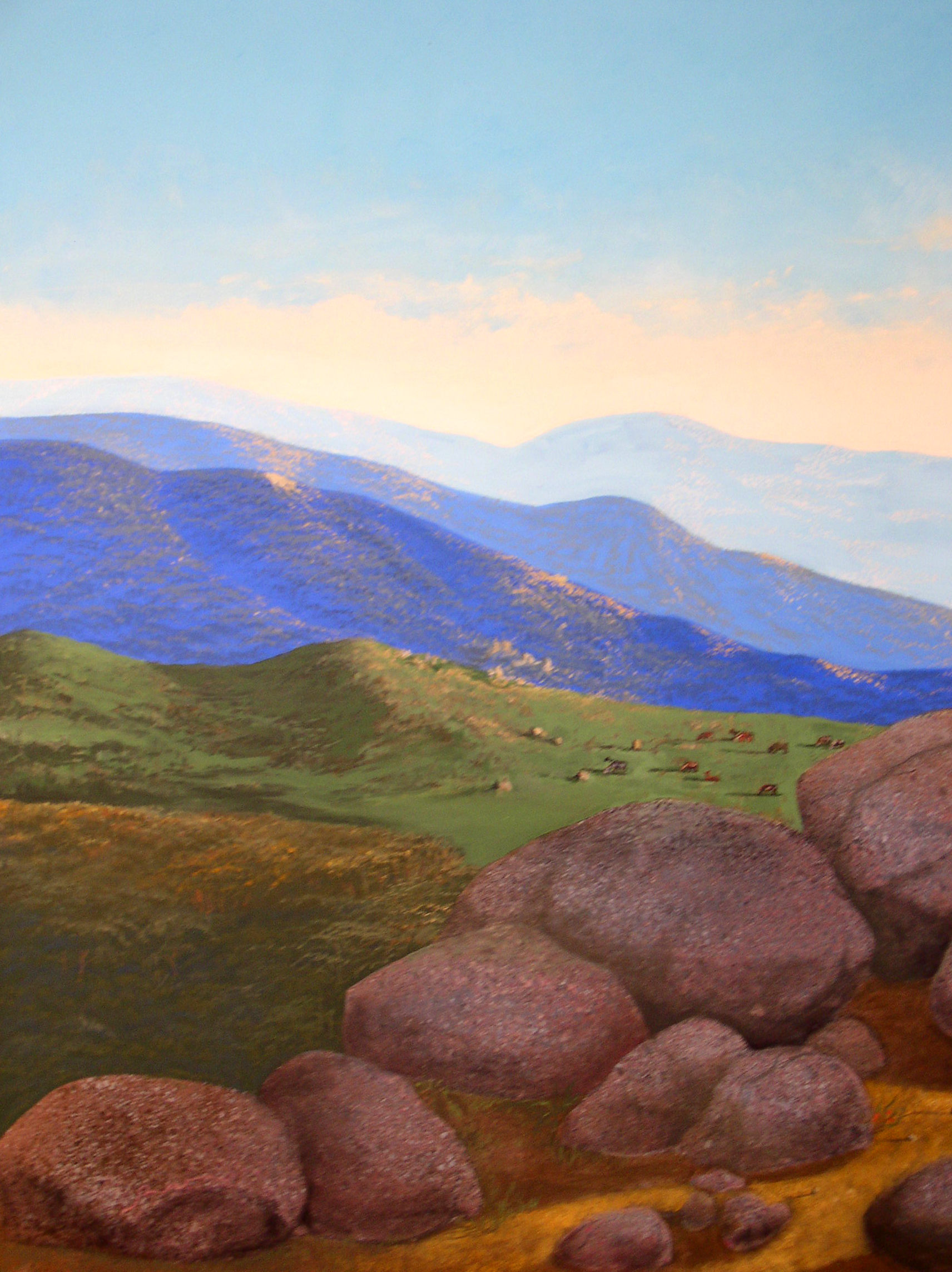 "California Mountain Vista, circa 1990's, acrylic on canvas, 34"" x 44"""