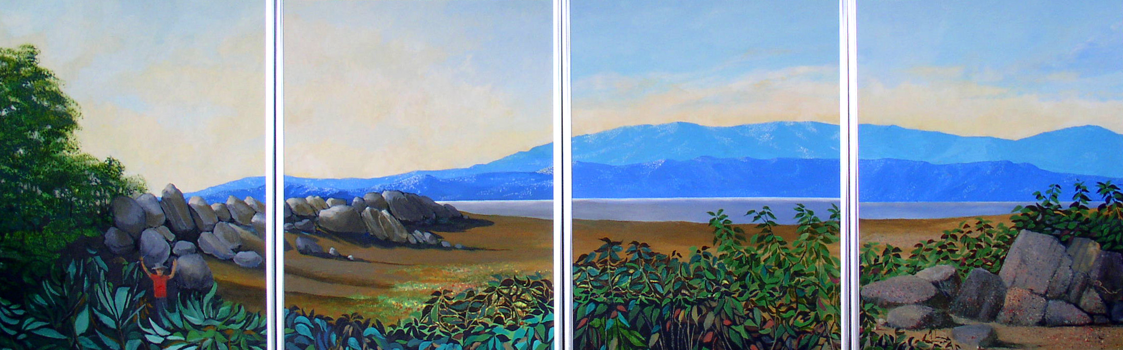 "California Vista Series, 1993, acrylic on four 16"" x 20"" canvas panels"