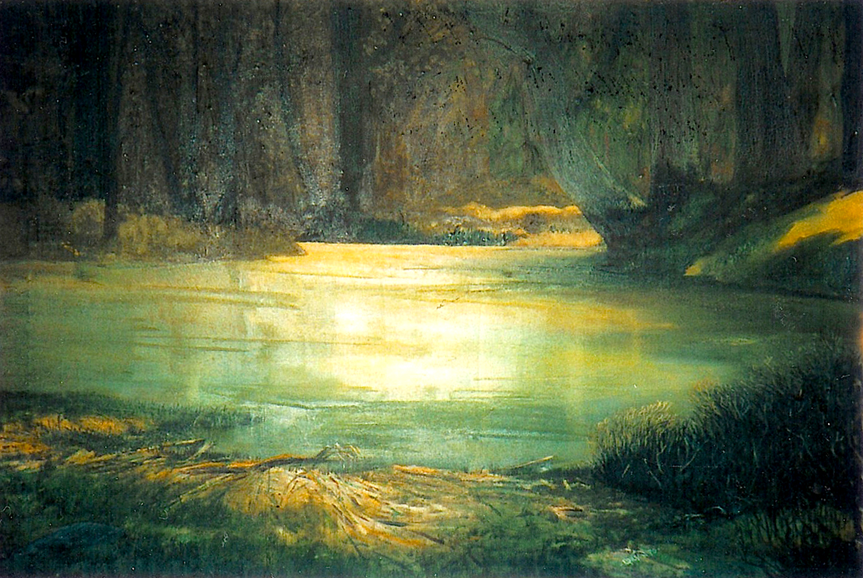 "Deep in the Bayou, 1970, acrylic on canvas, 22"" x 32"""