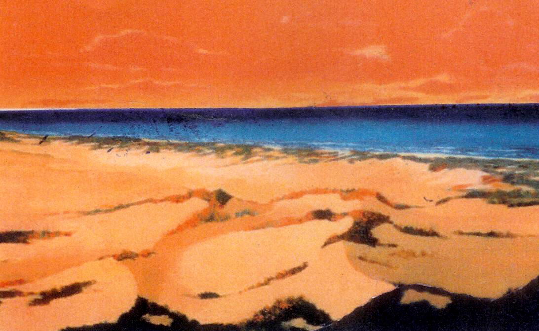 "Dunes at Sunset, 1995, acrylic on canvas, 24"" x 36"""