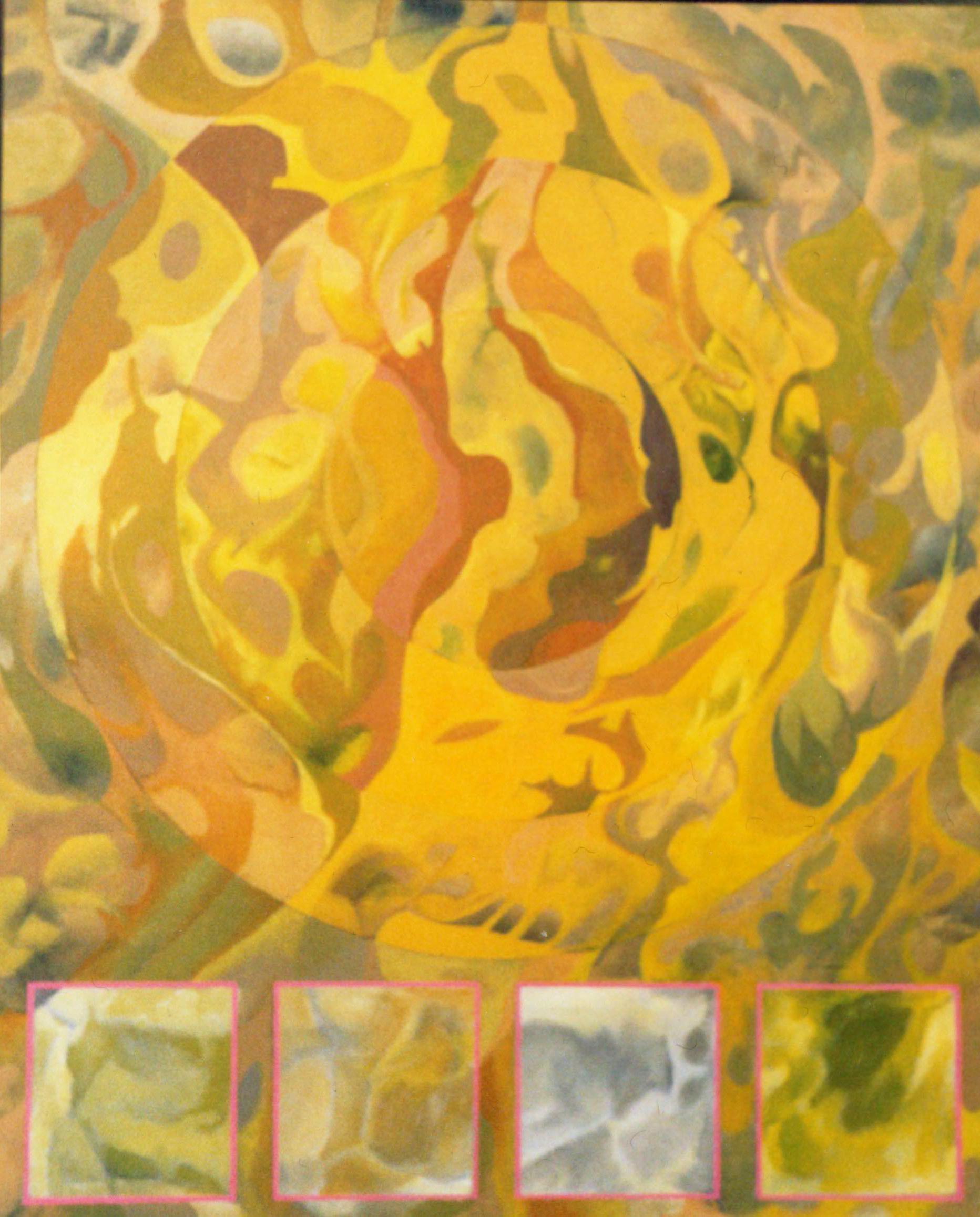 Gold Circle with Four Squares painting done by Robert Wilson