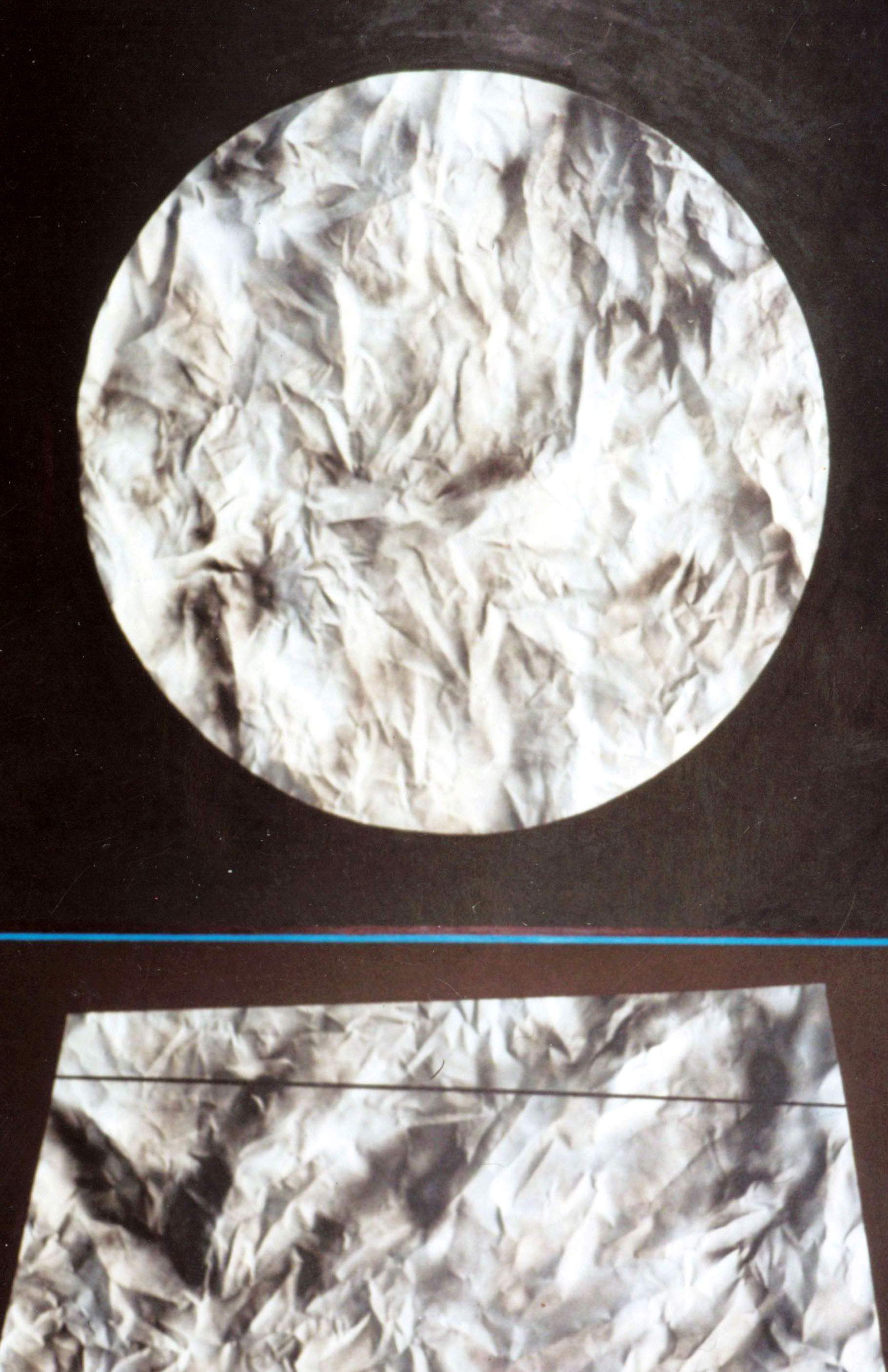 Grey Circle with Blue Stripe abstract painting done by Robert Wilson