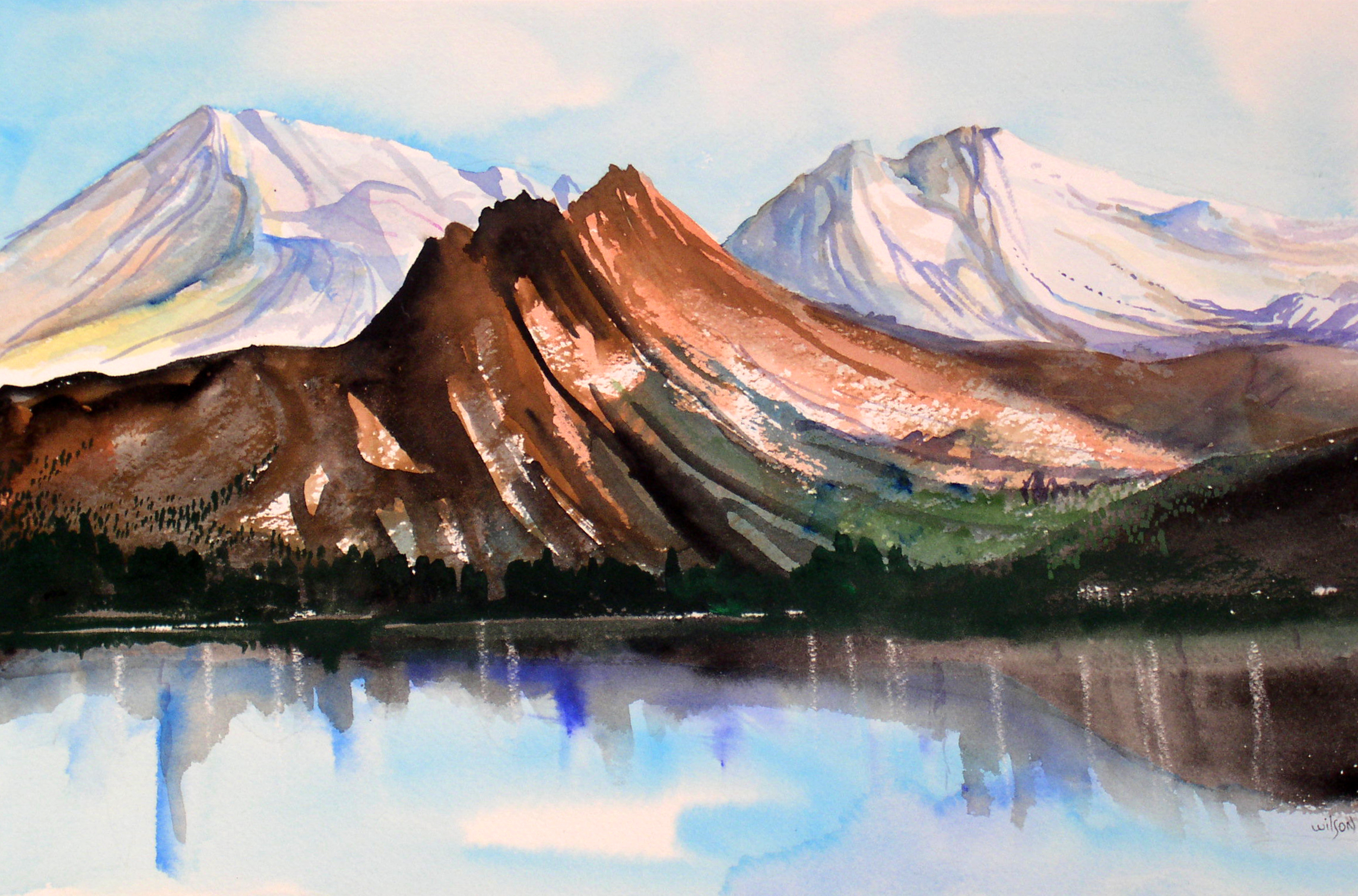 """High Sierras, circa 1990's, watercolor on paper, 16"""" x 20"""""""