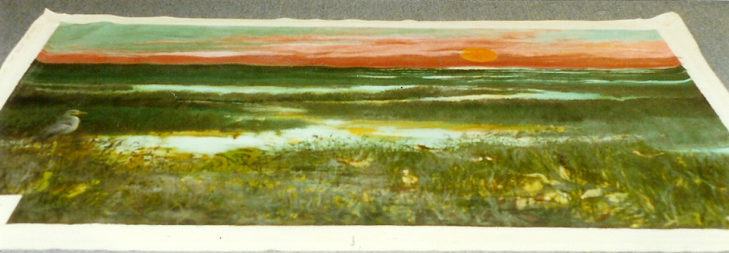 "Sunset Everglades, 1975, acrylic on canvas, 48"" x 72"""