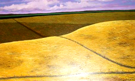 "Wheatfields, 1981, acrylic on canvas, 23"" x 36"""