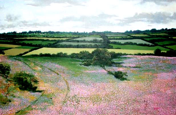 "Field of Flowers, 1978, acrylic on canvas, 24"" x 36"""