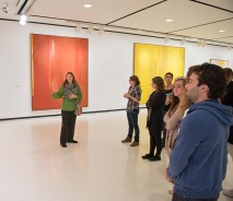 Students and instructor in gallery
