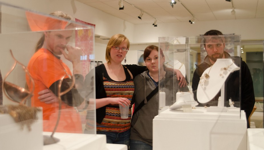 Students at gallery opening