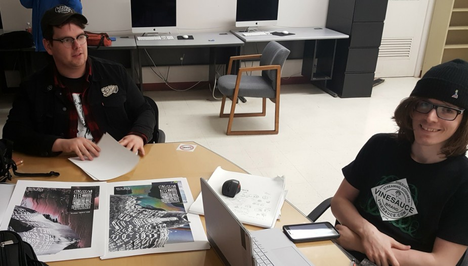 Students working in one of the graphic design studios